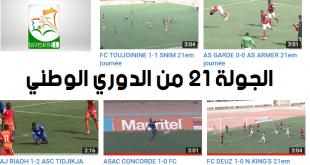 ملخصات مباريات الجولة 21 من الدوري الموريتانية الاول لكرة القدم